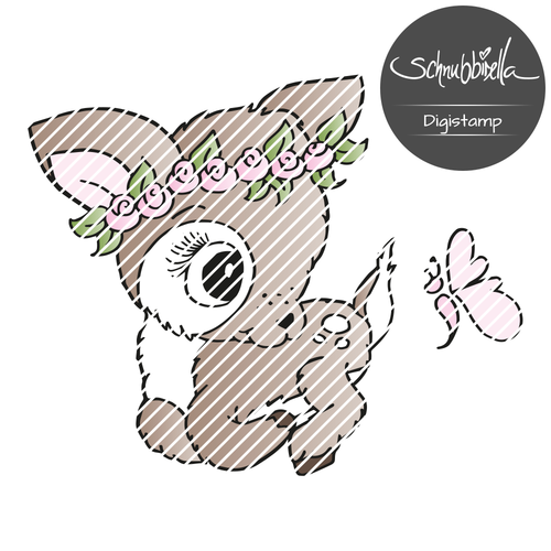 Flauschi Reh liegend Digistamp